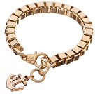 Fashion Simple Style Golden Link Bracelet With Lobster Clasp And Anchor Charm