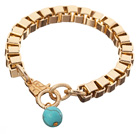 Fashion Simple Style Golden Link Charm Bracelet With Lobster Clasp And Round Blue Turquoise