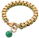 Mode Simple Style Golden Link Charm -Armband mit Karabinerverschluss And Round Grüne Jade