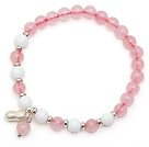 Lovely Simple Style Single Strand Round Rose Quartz Elastic Bracelet with White Sea Shell and 925 Sterling Silver Peanut Accessory