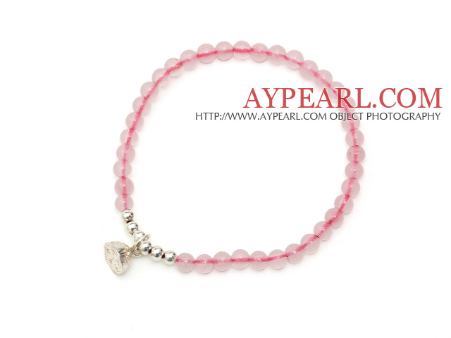 Lovely Simple Style Single Strand Round Rose Quartz Stretchy Bracelet with 925 Sterling Silver Lotus Seedpod Accessory