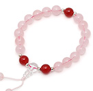 Lovely Single Strand Round Rose Quartz Elastic Bracelet with Carnelian and Clear Crystal Prayer Beads