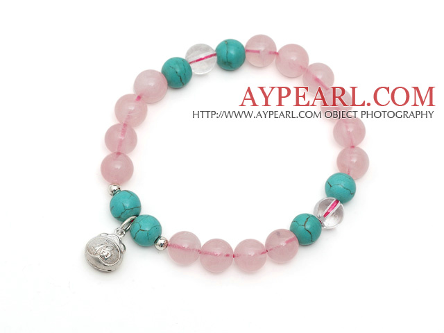 Lovely Single Strand Round Rose Quartz Stretchy Bracelet with Turquoise Ctystal and Sterling Silver Lucky Bag