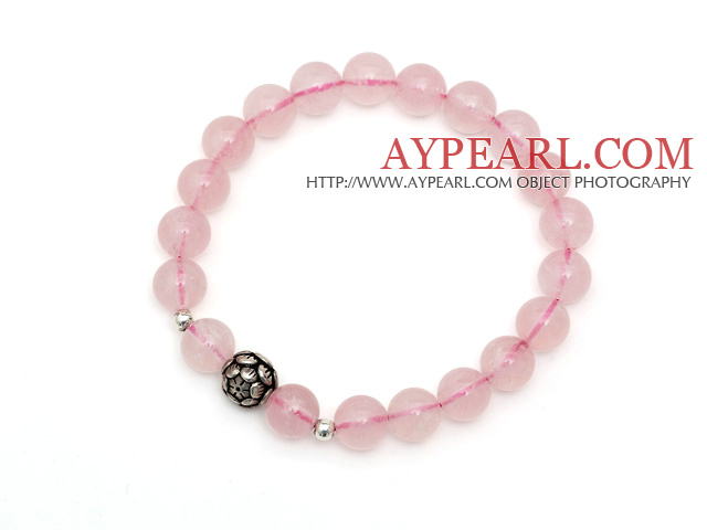 Lovely Simple Style Single Strand Round Rose Quartz Stretchy Bracelet with 925 Sterling Silver Lotus