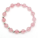 Wholesale Lovely Simple Style Single Strand Round Rose Quartz Stretchy Bracelet with 925 Sterling Silver Beads
