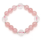 Wholesale Lovely Style Single Strand Round Rose Quartz Elastic Bracelet with Clear Ctystal Lotus and Sterling Silver Beads