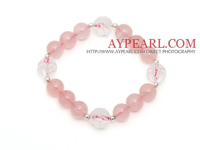 Lovely Style Single Strand Round Rose Quartz Elastic Bracelet with Clear Ctystal Lotus and Sterling Silver Beads