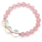 Wholesale Lovely Style Single Strand Round Rose Quartz Elastic Bracelet with Round Opal and Sterling Silver Beads