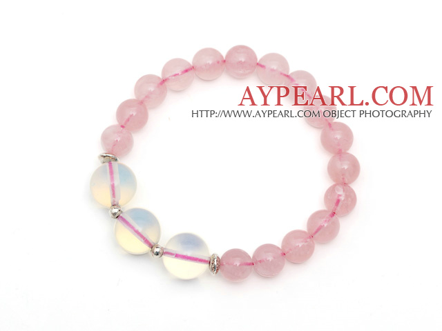 Lovely Style Single Strand Round Rose Quartz Elastic Bracelet with Round Opal and Sterling Silver Beads