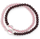 Wholesale Lovely Two Strands 4mm Round Garnet and Rose Quartz Beads Bracelet with Clear Crystal Beads