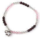 Wholesale Charming Simple Style Round Garnet and Rose Quartz and Sterling Silver Beads Bracelet with 925 Sterling Silver Elephant