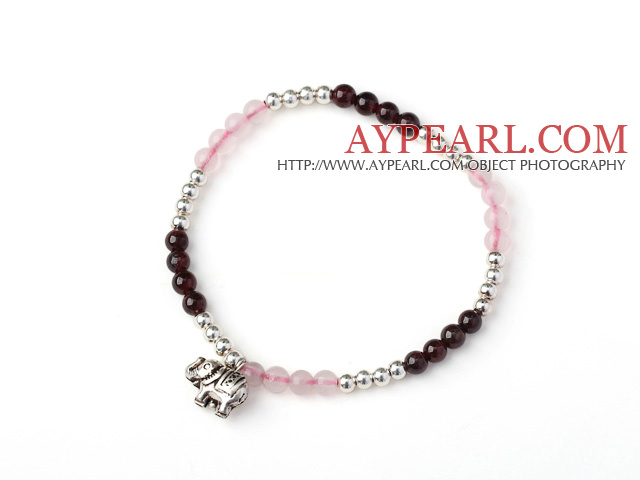 Charming Simple Style Round Garnet and Rose Quartz and Sterling Silver Beads Bracelet with 925 Sterling Silver Elephant
