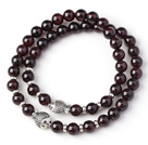 Wholesale Charming Two Strands 6mm Round Garnet Bracelet with Sterling Silver Fish Accessory