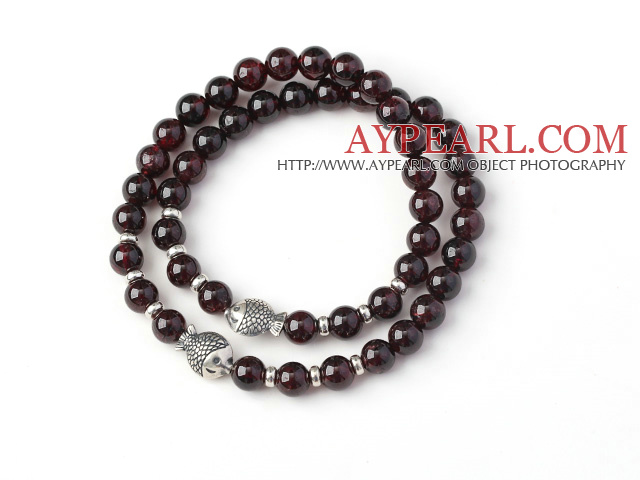 Charming Two Strands 6mm Round Garnet Bracelet with Sterling Silver Fish Accessory