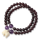 Wholesale Charming Two Strands Round Garnet Beads Bracelet with Amethyst Beads and Elephant Accessory