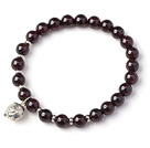 Wholesale Charming Simple Style 7mm Round Garnet Beads Bracelet with Sterling Silver Pig Accessory