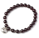 Wholesale Charming Simple Style 7mm Round Garnet Beads Bracelet with Sterling Silver Lock Accessory
