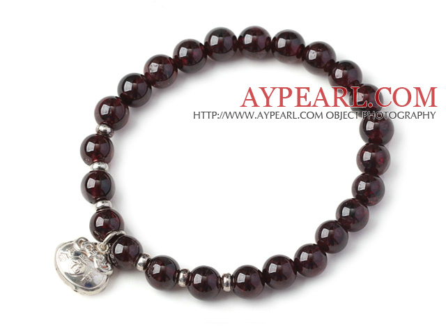 Charming Simple Style 7mm Round Garnet Beads Bracelet with Sterling Silver Lock Accessory
