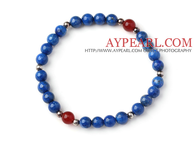 Simple Style Single Strand 6mm Round Lapis Beads Bracelet with Sterling Silver Beads and Faceted Carnelian