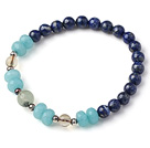 Wholesale Trendy Single Strand Round Lapis Beads Bracelet with Blue Jade Citrine and Prehnit