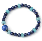 Trendy Single Strand Round Lapis Beads Bracelet with Faceted Blue Jade Beads