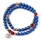 Wholesale New Popular Two Strands Round Lapis Beads Bracelet with Rutilated Quartz Carnelian Beads and Sterling Silver Lucky Bag