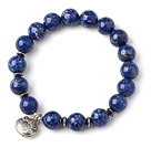 Trendy Single Strand Round Lapis Beads Bracelet with 925 Sterling Silver Lock Accessory