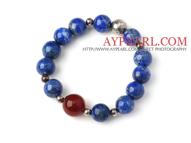 Trendy Single Strand Round Lapis Beads Bracelet with Round Sterling Silver Beads and Carnelian