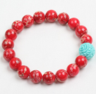 Sommar Beach smycken 10mm Red Imperial Jasper Sten Beaded Elastisk / Stretch Bracelet