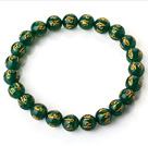8mm Single Strand Round Green Chalcedony Beaded Stretchy Bracelet with Printed Words