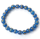 8mm Single Strand Round Blue Chalcedony Beaded Stretchy Bracelet with Printed Words