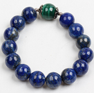Simple Single Strand Dyed Lapis And Green Phoenix Stone Beads Elastic/ Stretch Bracelet