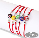 Simple Design Lovely 5 pcs Faceted Eye Glaze Beads Bracelet with Adjustable String