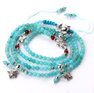 New Amazing Multi Layer Faceted Blue Jade Bracelet with Butterfly and Rabbit Accessory(can also be as necklace)