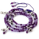 New Amazing Multi Layer Round Purple Jade Bracelet with Heart Charm and Love Letter(can also be as necklace)