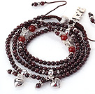 Wholesale New Amazing Multi Layer Round Garnet Beaded Bracelet with Heart Charm and Love Letter(can also be as necklace)