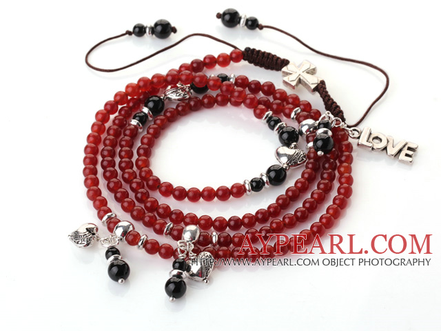 New Amazing Multi Layer Round Carnelian Bracelet with Heart Charm and Love Letter(can also be as necklace)