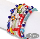 Trendy Lovely Design 6 pcs Faceted Crystal Eye Glaze Beads Bracelet with Adjustable String(Rnadon Color for Glaze)