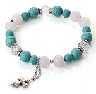 Wholesale Fashion Simple Design Green Turquoise White Jade and Clear Crystal Bracelet with Cross Accessory