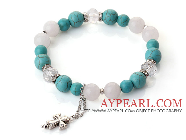 Fashion Simple Design Green Turquoise White Jade and Clear Crystal Bracelet with Cross Accessory