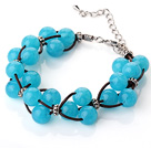 Fashion Design New Blue Acrylic Beads Leather Bracelet with Lobster Clasp