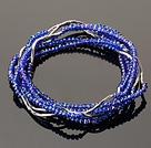Summer Lovely Handmade Multi Strands Mini Blue Crystal Beads Bracelet