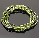 Summer Lovely Handmade Multi Strands Mini Green Crystal Beads Bracelet