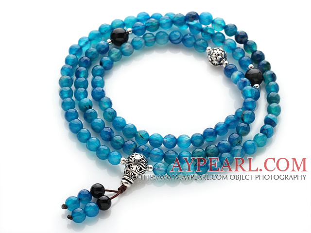 Trendy Beautiful 108 Faceted Light Blue Agate Beads Rosary/Prayer Bracelet with Black Agate and Sterling Silver Beads Accessory