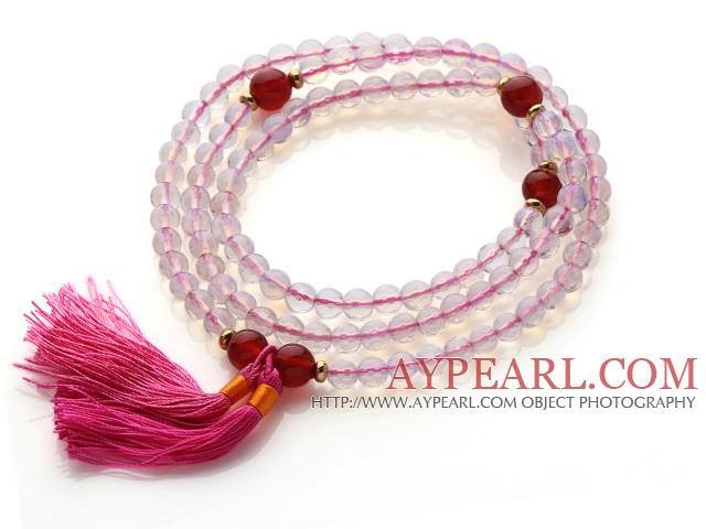 Trendy Multi Layer Faceted Opal Beads Bracelet with Carnelian Beads and Pink Tassel(can also be worn as necklace)