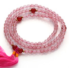 Wholesale Trendy Multi Layer Round Cherry Quartz Beads Bracelet with Carnelian Beads and Pink Tassel(can also be worn as necklace)