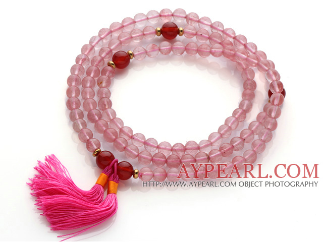 Trendy Multi Layer Round Cherry Quartz Beads Bracelet with Carnelian Beads and Pink Tassel(can also be worn as necklace)