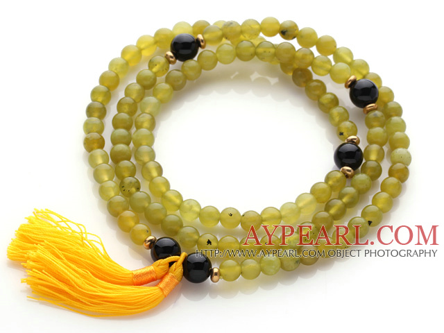 Trendy Multi Layer Round South Korean Jade Beads Bracelet with Black Agate Beads and Yellow Tassel(can also be worn as necklace)