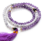Wholesale Trendy Multi Layer Round Howlite and Amethyst Beads Bracelet with Tassel(can also be worn as necklace)