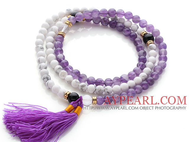 Trendy Multi Layer Round Howlite and Amethyst Beads Bracelet with Tassel(can also be worn as necklace)